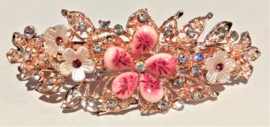 Haarspeld roze met bloemen en glinsterende strass steentjes 7 cm