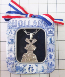 HAN 129 Collier molen plat Holland, zwaar verzilverd