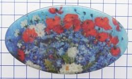 HAO 320 Haarspeld 8 cm ovaal bloemen rood wit blauw Vincent van Gogh