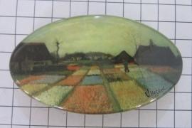 Haarspeld 8 cm ovaal HAO 413 tulpenveld Vincent van Gogh