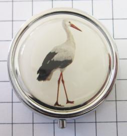 PIL 402 ooievaar pillendoosje met spiegeltje