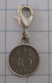 CLI 024 Clip met dubbeltje, zwaar verzilverd, willekeurig jaartal