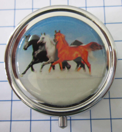 PIL 381 3 kleurige galopperende paarden op strand