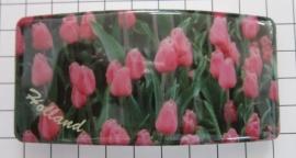 Haarspeld rechthoek HAR313 roze tulpenveld