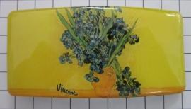 Haarspeld 8 cm rechthoek HAR402 vaas irissen Vincent van Gogh