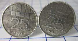 Manchetknopen verzilverd kwartje/25 cent 1984