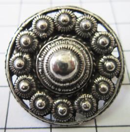 Zeeuwse knop broche, rond met rand, 27 mm doorsnede ZKB905