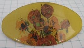 HAO 202 Haarspeld ovaal met zonnebloemen nieuw Vincent van Gogh