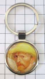 SLE408 Sleutelhanger Vincent van Gogh zelfportret met hoed