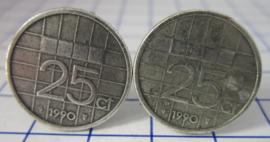 Manchetknopen verzilverd kwartje/25 cent 1990