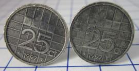 Manchetknopen verzilverd kwartje/25 cent 1997