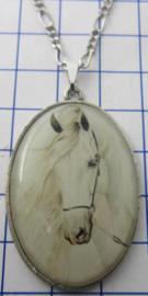HAN522 ketting met verzilverde hanger afbeelding wit paard