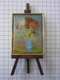 SCH 043 schildersezeltje 16 cm hoog Vincent van Gogh blauwe vaas bloemen