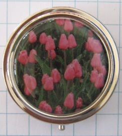 PIL114pillendoosje met spiegel roze tulpenveld