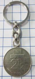 MSLE009 sleutelhanger rijksdaalder zwaar verzilverd, jaartal 1990
