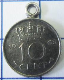 MHB011 5 stuks bedel dubbeltje verzilverd met hangoogje jaartal 1963