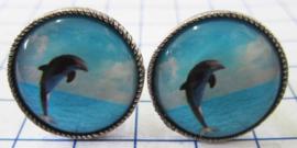 MAK049 Manchetknopen verzilverd springende dolfijn