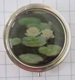 PIL 127 pillendoosje met spiegel witte waterlelies Claude Monet