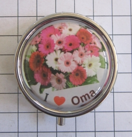pil 051 pillendoosje met spiegel boeket bloemen ik hou van oma