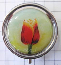 PIL116 pillendoosje met spiegel tecla tulp rood met gele rand