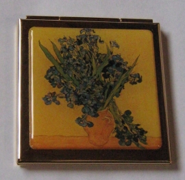 Verguld spiegeldoosje  extra zware kwaliteit, messing en verguld, vierkant, Vincent van Gogh vaas met irissen