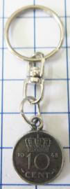 MSLE003 kleine sleutelhanger dubbeltje verzilverd, U ontvangt willekeurig jaartal