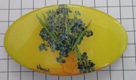 Haarspeld 8 cm ovaal HAO 402 vaas irissen Vincent van Gogh