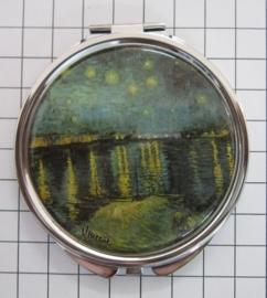 SPI 212 Spiegeldoosje Sterrennacht met Brug en water,  Vincent van Gogh