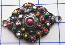 ZB037-MC zeeuwse knopjes ruitje verzilverd met multi kleuren emaille