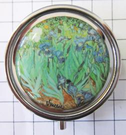 PIL411 pillendoosje met spiegel irissen Vincent van gogh