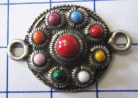 ZB018-MC zeeuwse platte knoop 9 bolletjes tweeoog verzilverd met regenboogkleuren emaille