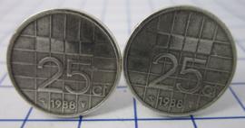 Manchetknopen verzilverd kwartje/25 cent 1988