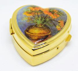 echt verguld hartvormig pillendoosje met afbeelding keizerskroon van Vincent van Gogh