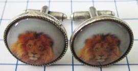 MAK040 Manchetknopen verzilverd Leeuw