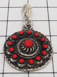 clipje zeeuwse knoop plat met rode emaille ZKG418-R