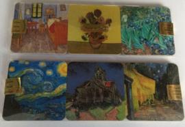 Set van 6 onderzetters met afbeeldingen Vincent van Gogh