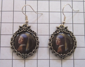 OOR 309 oorbellen verzilverd meisje met de parel van Johannes Vermeer