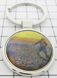 SLE416 Sleutelhanger veld met zon Vincent van Gogh