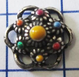 ZB006-MC zeeuws knoopje verzilverd met vrolijke kleuren emaille