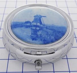 PIL223 pillendoosje met spiegel Delftsblauwe molen Gabriel