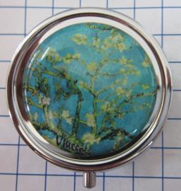 PIL420 pillendoosje met spiegeltje amandelbloesem Vincent van Gogh