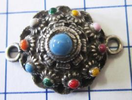 ZB034-MC bolle zeeuwse knoop tweeoog verzilverd, 2 cm met multi kleuren emaille