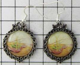 prachtige verzilverde oorbellen  Vincent van Gogh bootjes OOR 321