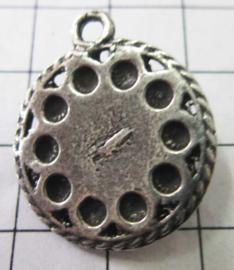 zeeuwse knop plat met rand, 10 bolletje,eenoog, ruim 2 cm ZB023