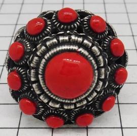 Supergrote Zeeuwse knop ring met rode emaille ZKR314-R