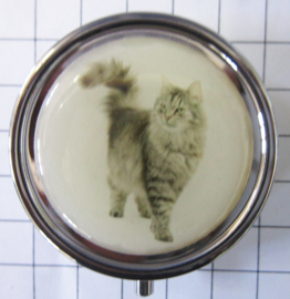 pil 341 pillendoosje met spiegel grijze poes