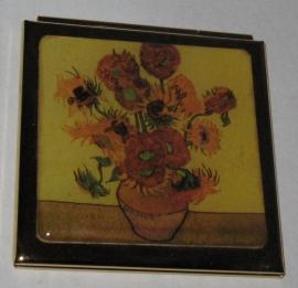 Spiegeldoosje extra zware kwaliteit!  Messing en verguld, vierkant,  Vincent van Gogh, Zonnebloemen