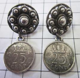 ZKO724 Zeeuwse knop oorstekers met kwartje oudhollands