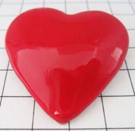 BRO200 Broche verzilverd met rood hart