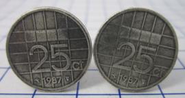 Manchetknopen verzilverd kwartje/25 cent 1987